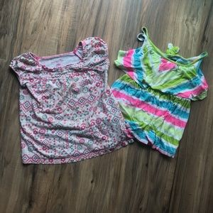 Other - Lot of 2 girls tops floral shirt and neon tank top